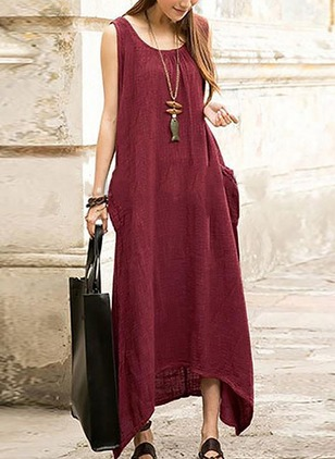 Solid Pockets Sleeveless High Low Shift Dress