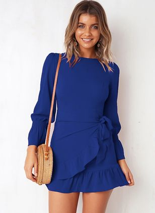 Solid Skater Long Sleeve Mini A-line Dress