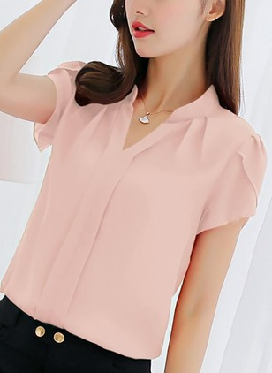 Solid Casual Polyester Others Short Sleeve Blouses
