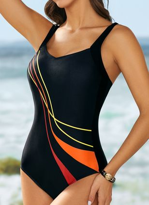 Polyester Halter Color Block One-piece Swimwear (1496955)