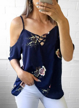 Floral Casual Camisole Neckline Short Sleeve Blouses