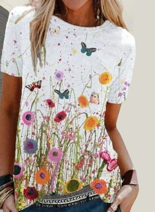 Floral Round Neck Short Sleeve Casual T-shirts (147159314)
