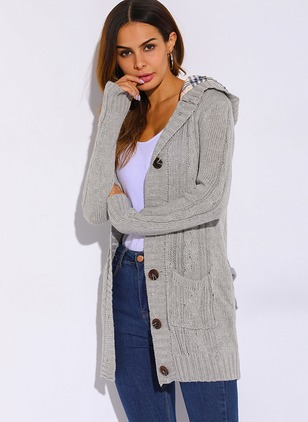 Cotton & Cotton Blend Long Sleeve Hooded Buttons Coats