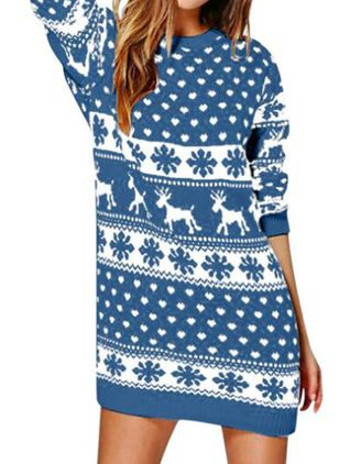 Christmas Animal Sweater Round Neckline Shift Dress (128230204)