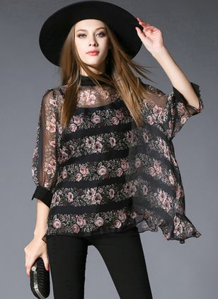 Floral Cute Round Neckline 3/4 Sleeves Blouses