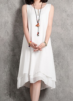 Cotton Linen Solid Sleeveless Knee-Length Dresses