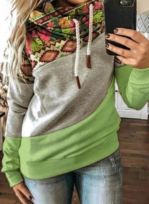 Floral Casual Hooded Sweatshirts (118206959)