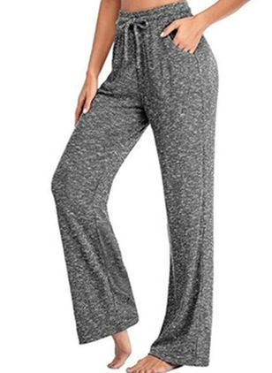 Casual Loose Pockets Mid Waist Polyester Pants (147077134)