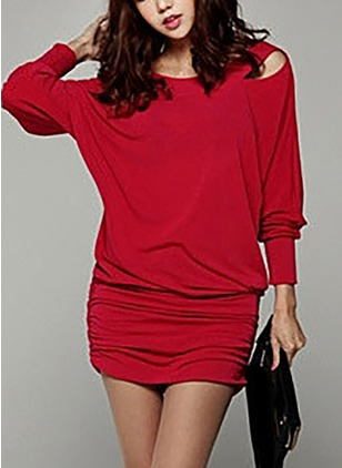 Cotton Solid Long Sleeve Above Knee Dresses