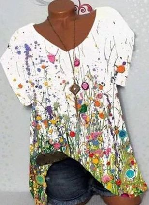 Floral V-Neckline Short Sleeve Casual T-shirts (147429397)