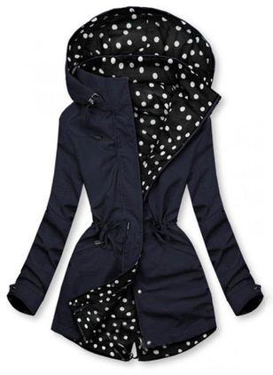 Polka Dot Casual Hooded Sashes Zipper Sweatshirts (120649498)