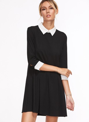 Cotton Blends Solid 3/4 Sleeves Above Knee Dresses
