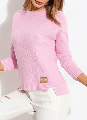 Polyester Round Neckline Solid Loose Ruffles Others Sweaters
