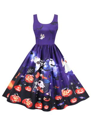 Halloween Color Block Round Neckline Midi X-line Dress (109973583)