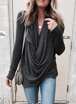 Solid Casual Polyester Draped Neckline Long Sleeve Blouses