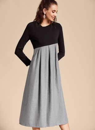Elegant Color Block V-Neckline Long Sleeve Midi Dress (4864887)