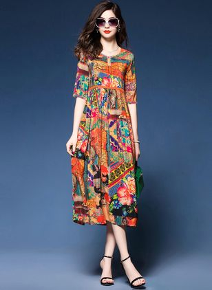 Casual Floral Round Neckline Midi A-line Dress (4864704)