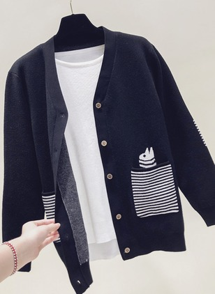 Others Stripe Loose Pockets Buttons Sweaters