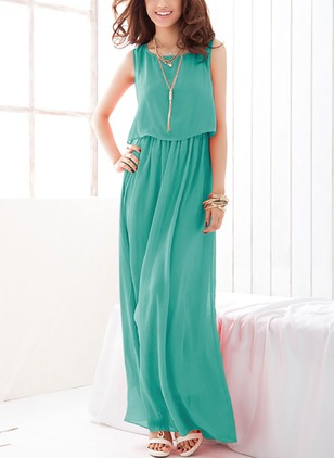 Chiffon Solid Sleeveless Maxi Dresses