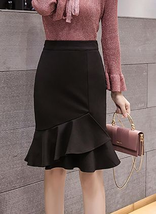 Solid Knee-Length Sexy Ruffles Skirts