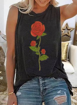 Floral Round Neck Sleeveless Casual T-shirts (146964368)