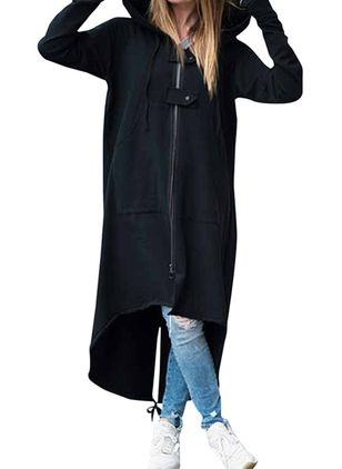 Long Sleeve Hooded Zipper Coats (103037759)