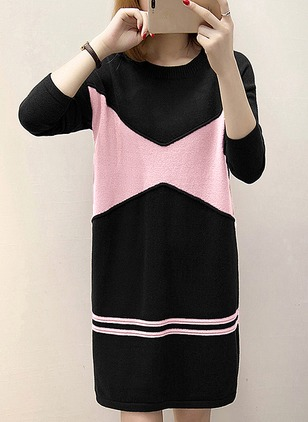 Color Block Sweater Long Sleeve Shift Dress