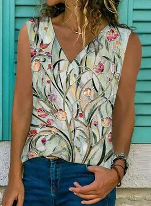 Floral V-Neckline Sleeveless Casual T-shirts (147076858)