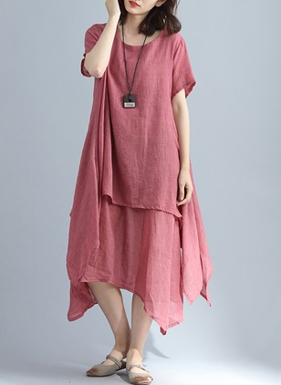 Solid Tshirt Short Sleeve Midi Shift Dress