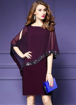 Solid Sequins Cap Sleeve Knee-Length Shift Dress