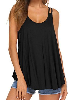 Solid Camisole Neckline Sleeveless Casual T-shirts (147222869)