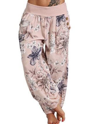 Casual Loose Buttons Mid Waist Polyester Pants (147183018)