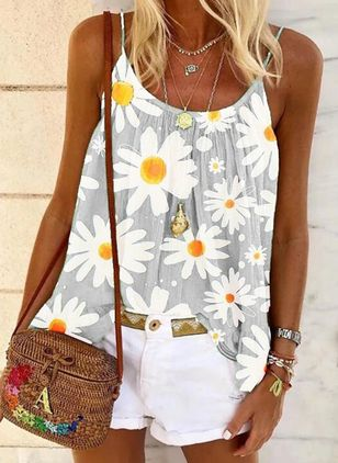 Floral Camisole Neckline Sleeveless Casual T-shirts (147076697)