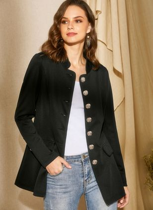 Long Sleeve Stand Collar Buttons Coats (1348057)