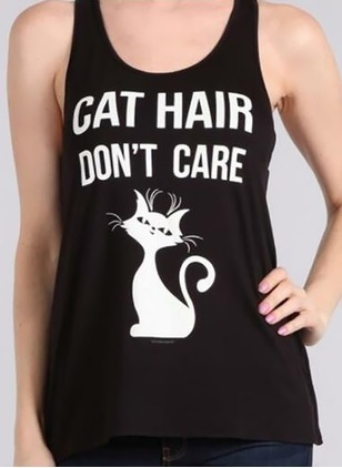 Cotton Polyester Animal Camisole Neckline Sleeveless Sexy T-shirts