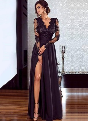 Solid Lace Long Sleeve Maxi A-line Dress