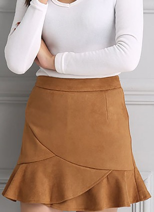 Polyester Solid Above Knee Casual Skirts