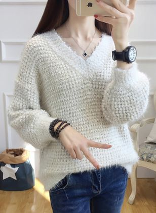 V-Neckline Solid Loose Regular Shift Sweaters Sweaters