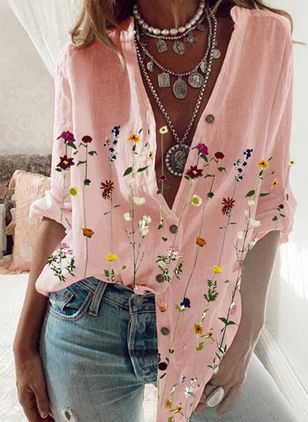 Floral Casual V-Neckline Long Sleeve Blouses (147019242)