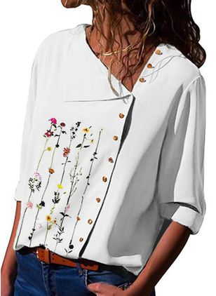 Floral Casual Oblique Neckline Long Sleeve Blouses (146842028)