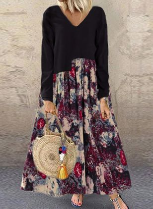 Casual Floral V-Neckline Long Sleeve Maxi Dress (112602065)