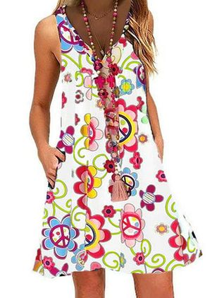 Casual Floral Tunic V-Neckline A-line Dress (1539895)