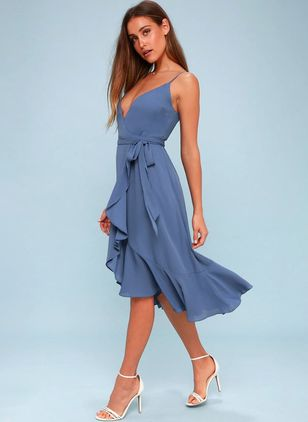 Solid Sleeveless Knee-Length X-line Dress