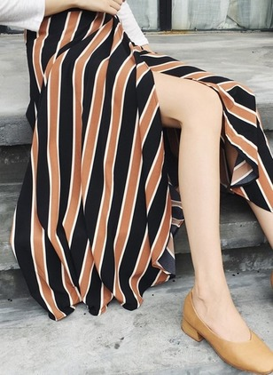Cotton Color Block Mid-Calf Casual Skirts