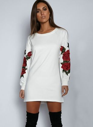Solid Embroidery Long Sleeve Above Knee Shift Dress