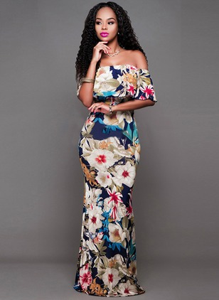 Floral Boat Neckline Sleeveless Maxi Bodycon Dress
