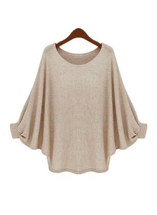 Cotton Round Neckline Solid Bat Shirt None Sweaters