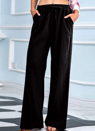 Casual Loose Pockets Mid Waist Polyester Pants (122030681)