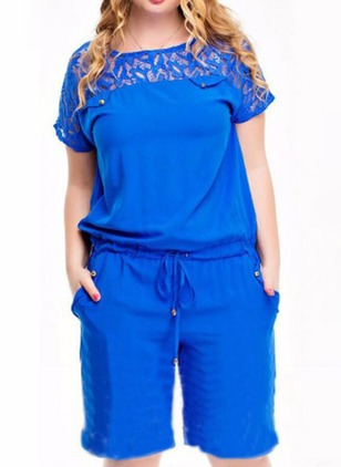 Cotton Solid Short Sleeve Lace Jumpsuits & Rompers