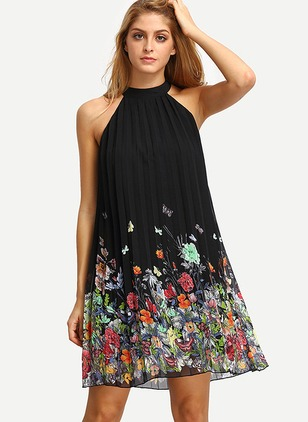 Floral Halter Neckline Sleeveless Shift Dress
